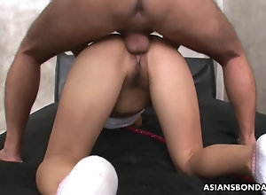 Collared and roped Asian receives a fierce doggy style fucki