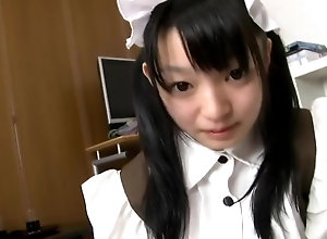 Japanese lady Konoha in pretty maid costume