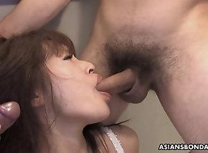 Asian whore in underwear sucks a few pricks before being cag