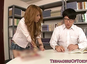 Japanese teenager college girl cumsprayed in class