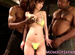 Asian mommy railed by sooty dicks foursome