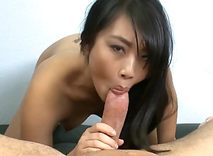 Asian stunner sucks and fucks thick milky chisel and takes facial