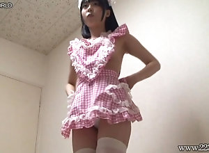 Yua Nanami wearing plaid-apron in naked.