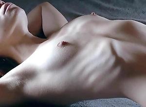 Skinny female shows her ribs 2