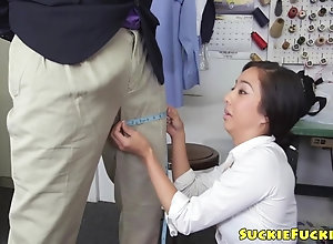 Cocksucking asian doll doggystyled in trio