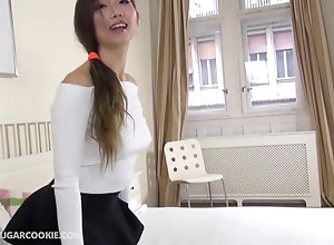 Asian student fucks herself