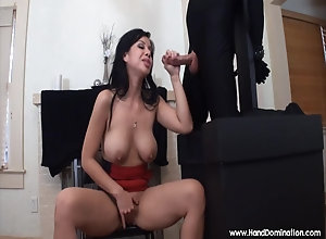 Asian chick blows bondage cock