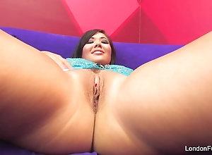 Busty Asian London Keyes fucktoys her skin-tight ass
