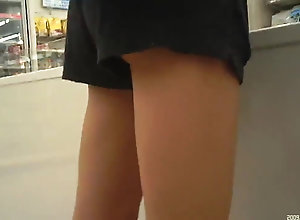 Short pants and spectacular legs and milky underwear