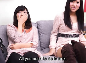 Subtitled CFNM asian side watches amaze blowjob