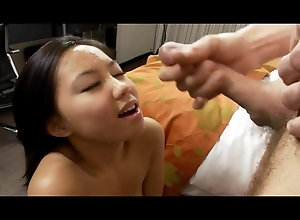 Asian stunner juices blasted by skinny pete