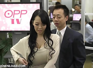 Giant tits asian ribbons her hefty boobs
