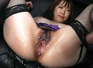 Asian bi-atch strips sexy underwear during the sliithering masturba