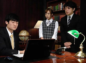 Slutty Japanese assistant savours a resemble threesome in the of